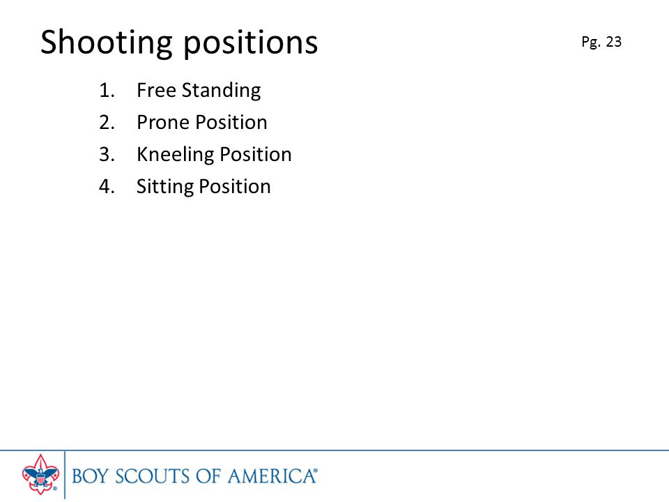 Shooting positions 1.Free Standing 2.Prone Position 3.Kneeling Position 4.Sitting Position Pg. 23