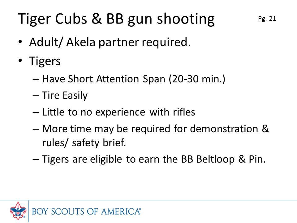 Tiger Cubs & BB gun shooting Adult/ Akela partner required.