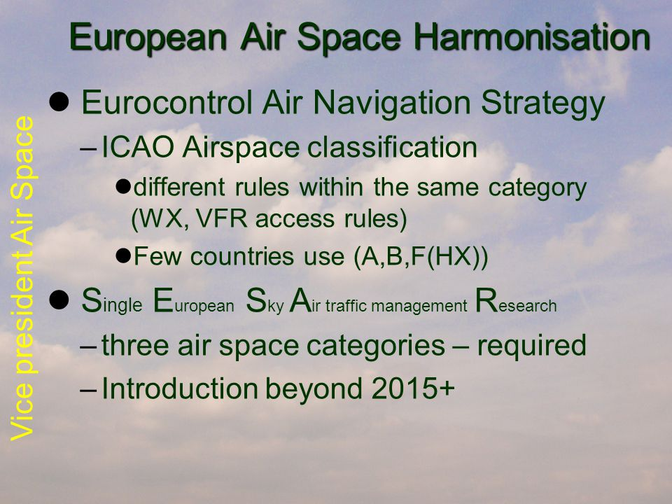 Vice president Air Space European Air Space Harmonisation European Air Space Harmonisation Eurocontrol Air Navigation Strategy –ICAO Airspace classification different rules within the same category (WX, VFR access rules) Few countries use (A,B,F(HX)) S ingle E uropean S ky A ir traffic management R esearch –three air space categories – required –Introduction beyond 2015+