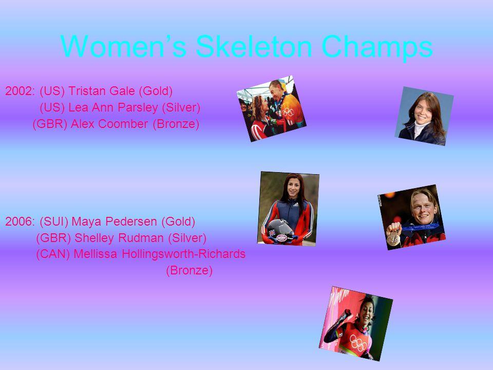 Womens Skeleton Champs 2002: (US) Tristan Gale (Gold) (US) Lea Ann Parsley (Silver) (GBR) Alex Coomber (Bronze) 2006: (SUI) Maya Pedersen (Gold) (GBR) Shelley Rudman (Silver) (CAN) Mellissa Hollingsworth-Richards (Bronze)