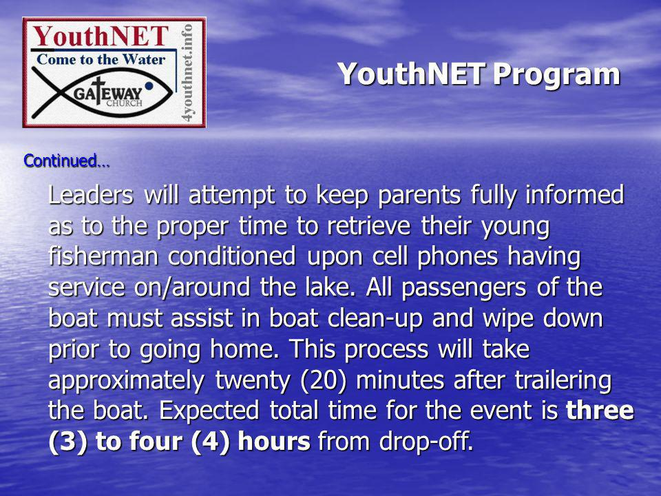 Continued… Leaders will attempt to keep parents fully informed as to the proper time to retrieve their young fisherman conditioned upon cell phones having service on/around the lake.