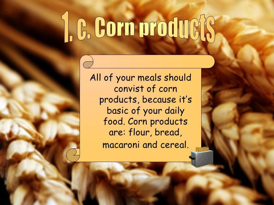 All of your meals should convist of corn products, because its basic of your daily food.