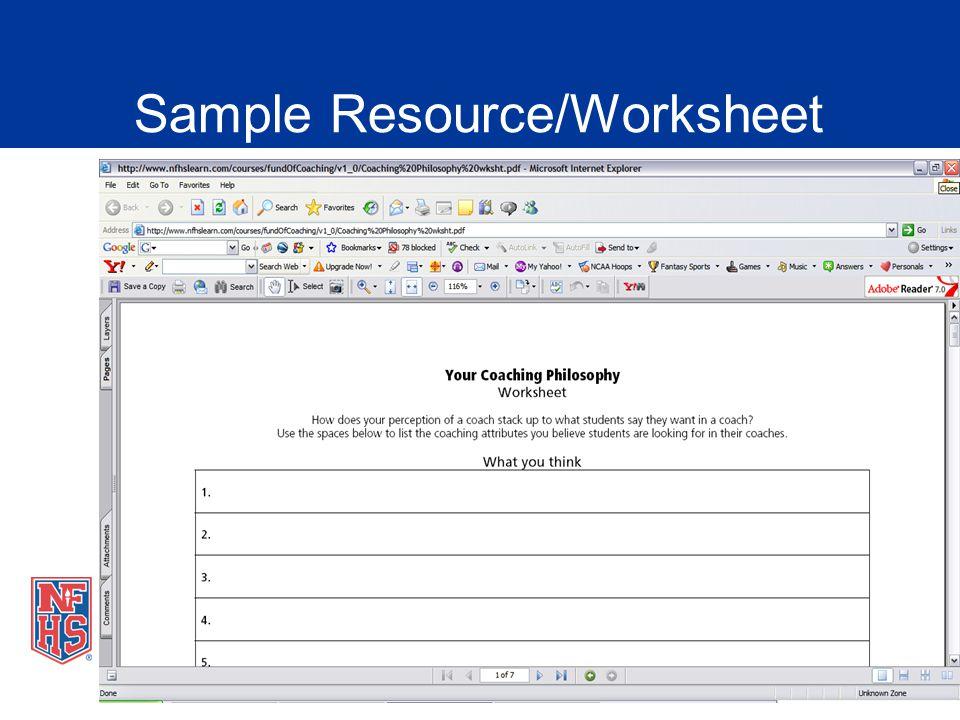 Sample Resource/Worksheet