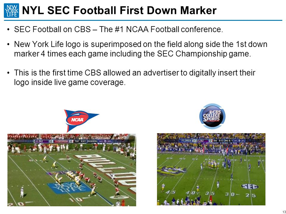 13 NYL SEC Football First Down Marker SEC Football on CBS – The #1 NCAA Football conference. New York Life logo is superimposed on the field along sid