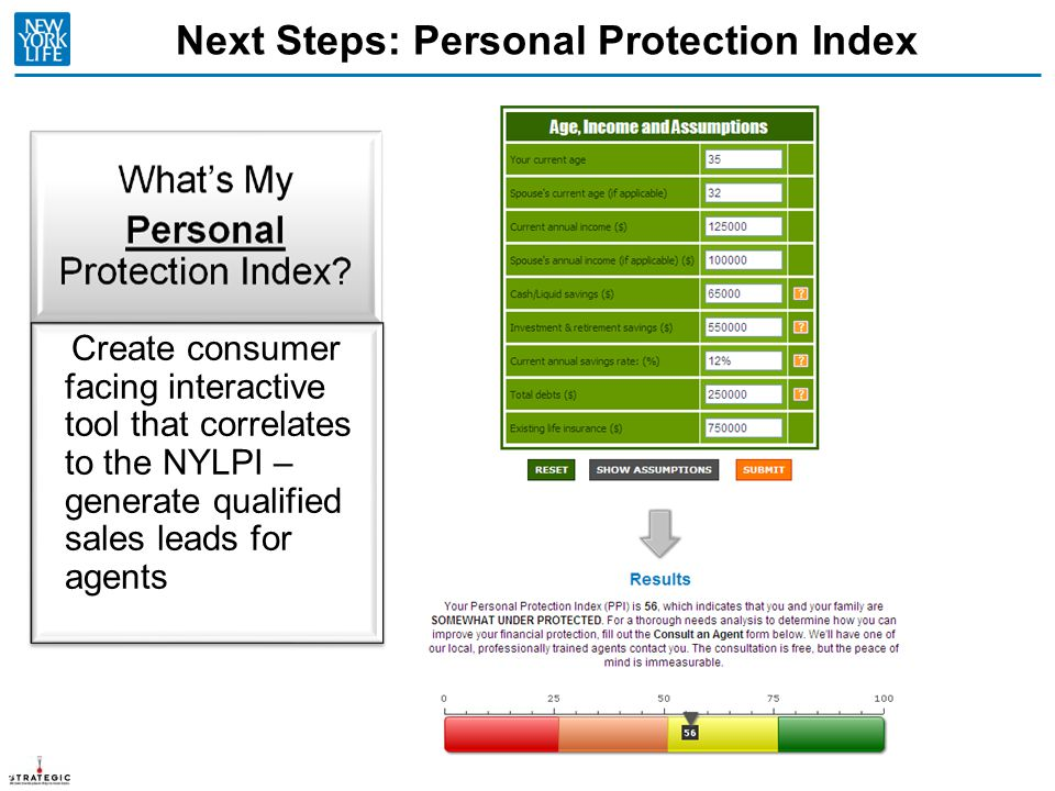 Next Steps: Personal Protection Index 27 Create consumer facing interactive tool that correlates to the NYLPI – generate qualified sales leads for age