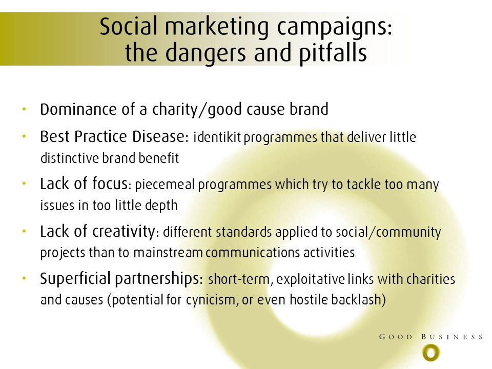 Social marketing campaigns: the dangers and pitfalls Dominance of a charity/good cause brand Best Practice Disease: identikit programmes that deliver little distinctive brand benefit Lack of focus : piecemeal programmes which try to tackle too many issues in too little depth Lack of creativity : different standards applied to social/community projects than to mainstream communications activities Superficial partnerships: short-term, exploitative links with charities and causes (potential for cynicism, or even hostile backlash)