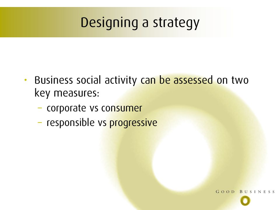 Designing a strategy Business social activity can be assessed on two key measures: – corporate vs consumer – responsible vs progressive