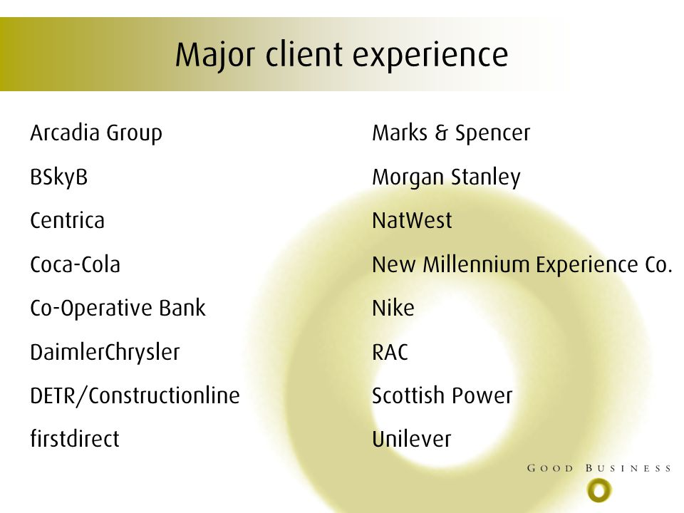 Major client experience Arcadia Group Marks & Spencer BSkyB Morgan Stanley Centrica NatWest Coca-Cola New Millennium Experience Co.
