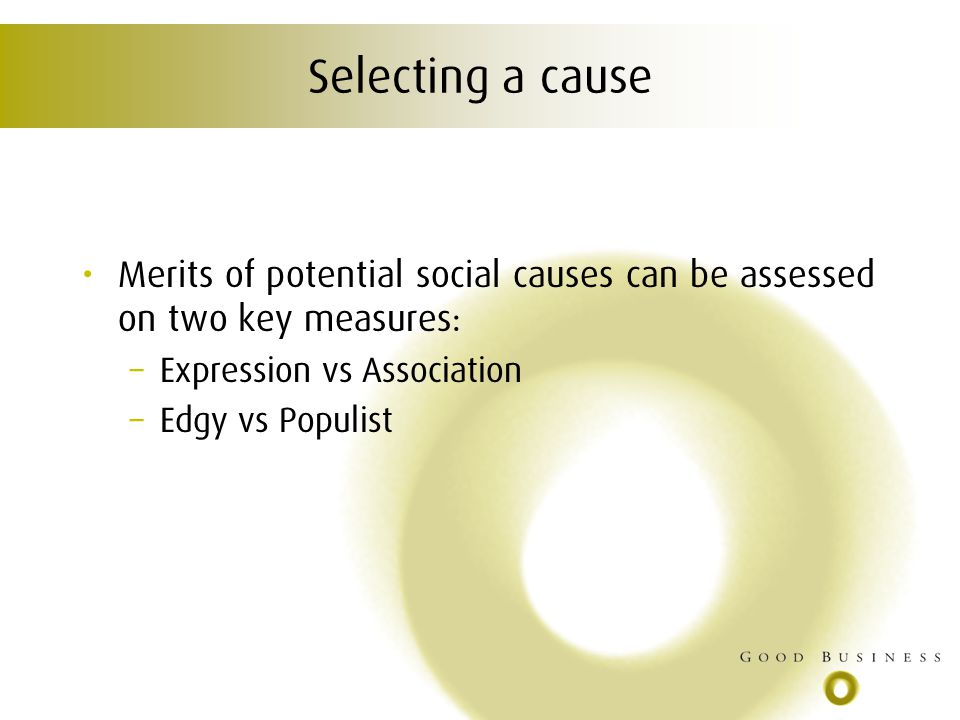 Selecting a cause Merits of potential social causes can be assessed on two key measures: – Expression vs Association – Edgy vs Populist