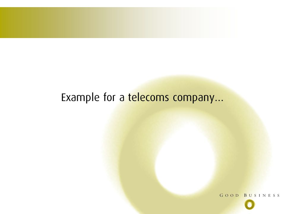 Example for a telecoms company…