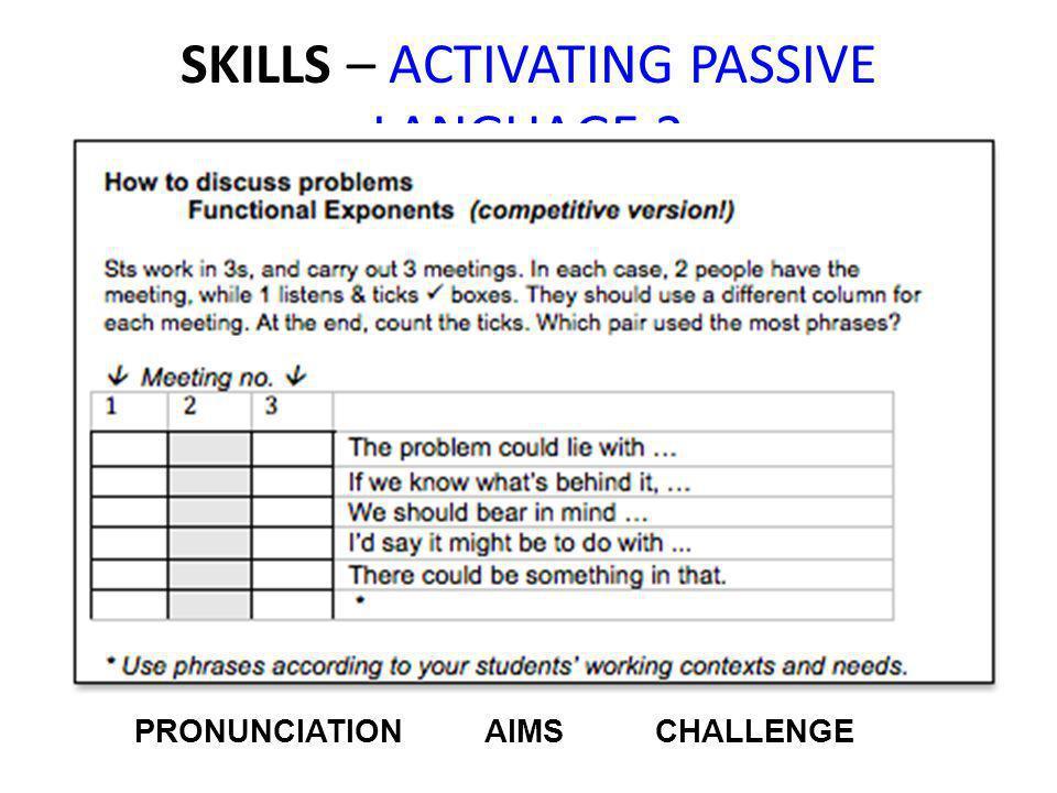 SKILLS – ACTIVATING PASSIVE LANGUAGE 2 PRONUNCIATION AIMS CHALLENGE