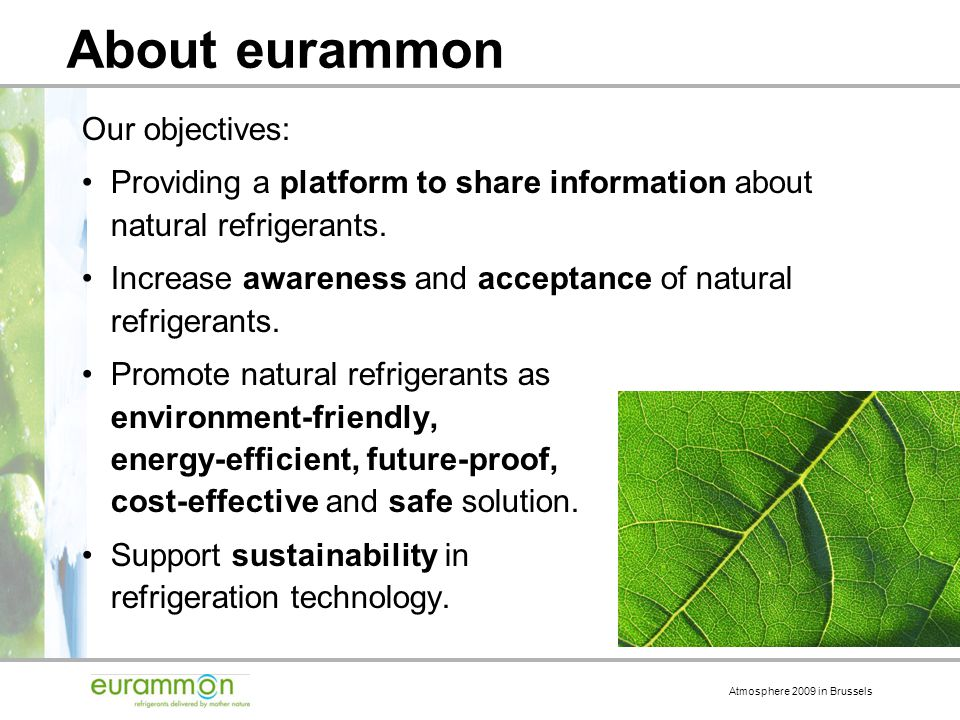 Atmosphere 2009 in Brussels About eurammon Our objectives: Providing a platform to share information about natural refrigerants.