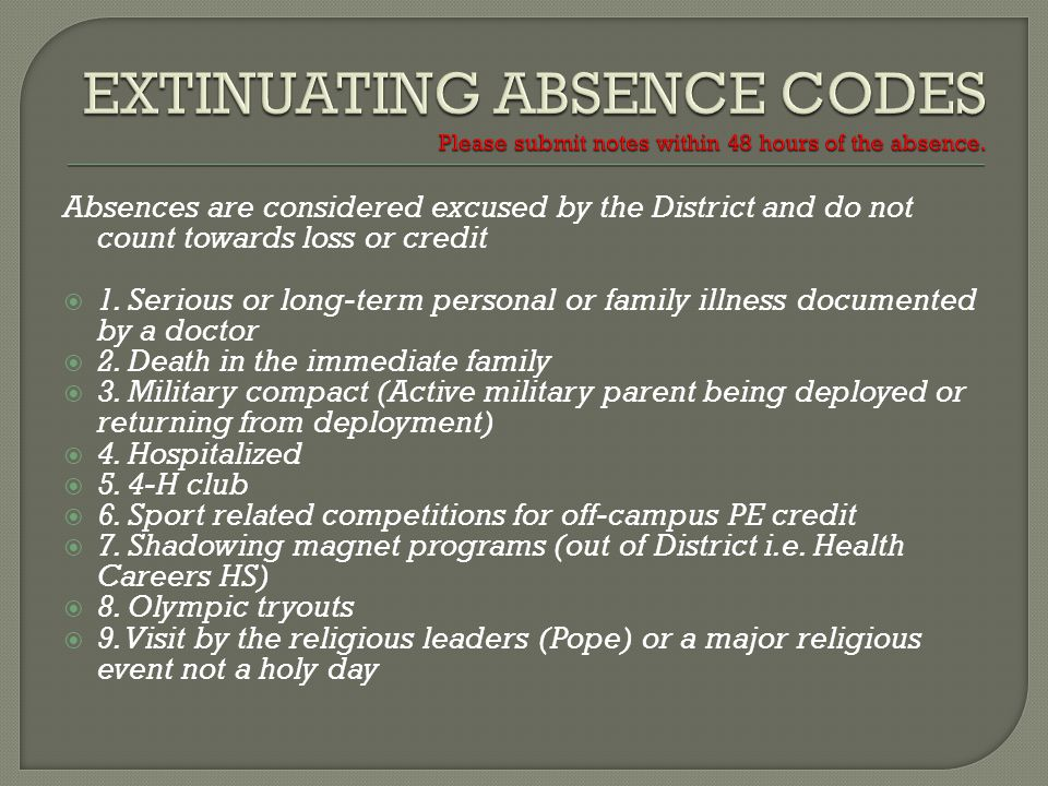 Absences are considered excused by the District and do not count towards loss or credit 1.