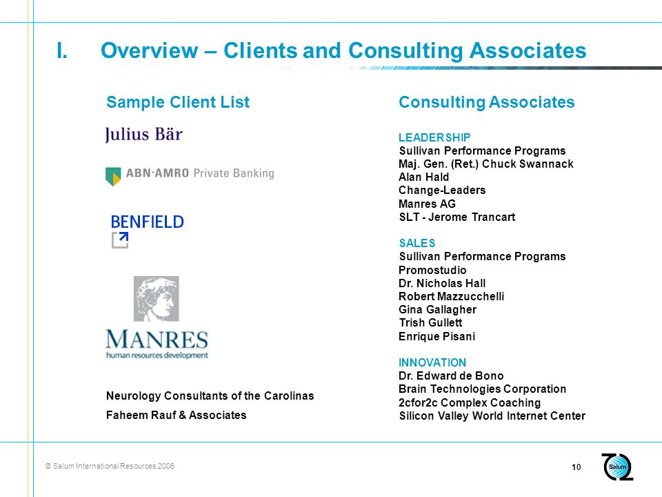 © Salum International Resources I.Overview – Clients and Consulting Associates Neurology Consultants of the Carolinas Faheem Rauf & Associates Sample Client ListConsulting Associates LEADERSHIP Sullivan Performance Programs Maj.