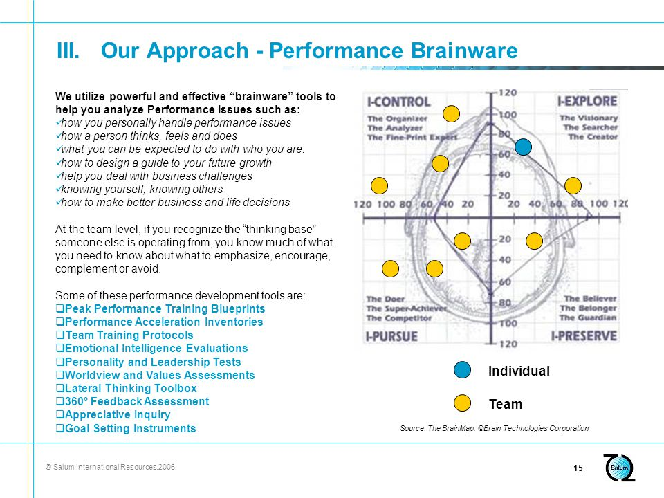 © Salum International Resources III.Our Approach - Performance Brainware Individual Team Source: The BrainMap.