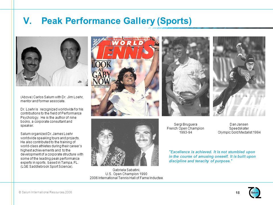 © Salum International Resources.2006 18 V.Peak Performance Gallery (Sports) Gabriela Sabatini, U.S.