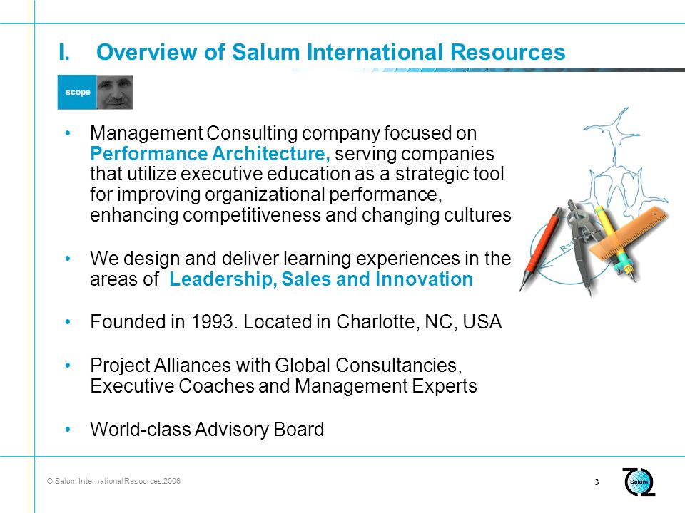 © Salum International Resources I.Overview of Salum International Resources Management Consulting company focused on Performance Architecture, serving companies that utilize executive education as a strategic tool for improving organizational performance, enhancing competitiveness and changing cultures We design and deliver learning experiences in the areas of Leadership, Sales and Innovation Founded in 1993.
