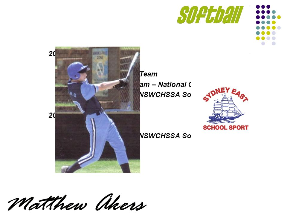2006 Sydney East SSA NSWCHSSA Softball Team NSW U/16 Softball Team – National Champions Menai HS – Finalists NSWCHSSA Softball Knockout 2004-2005 Sydney East SSA Menai HS – Finalists NSWCHSSA Softball Knockout