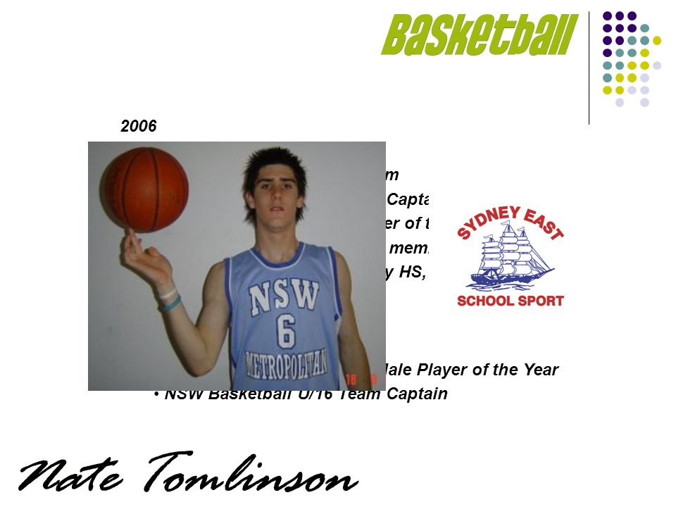 2006 Sydney East SSA NSWCHSSA Basketball Team NSW Basketball U/18 Team Captain 2006 NSW Junior Male Player of the Year All Australian Junior Squad member Scholarship to Lee Academy HS, Maine, USA 2004-2005 NSW Basketball U/18 Team Sutherland Sharks Junior Male Player of the Year NSW Basketball U/16 Team Captain