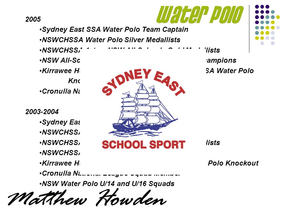 2005 Sydney East SSA Water Polo Team Captain NSWCHSSA Water Polo Silver Medallists NSWCHSSA 1sts – NSW All-Schools Gold Medallists NSW All-Schools Water Polo Team – National Champions Kirrawee HS – Captain, Gold Medallist NSWCHSSA Water Polo Knockout Cronulla National League Squad Member 2003-2004 Sydney East SSA Water Polo Team NSWCHSSA Water Polo Gold Medallists NSWCHSSA 1sts – NSW All-Schools Gold Medallists NSWCHSSA 2nds 2004 Kirrawee HS – Gold Medallist NSWCHSSA Water Polo Knockout Cronulla National League Squad Member NSW Water Polo U/14 and U/16 Squads
