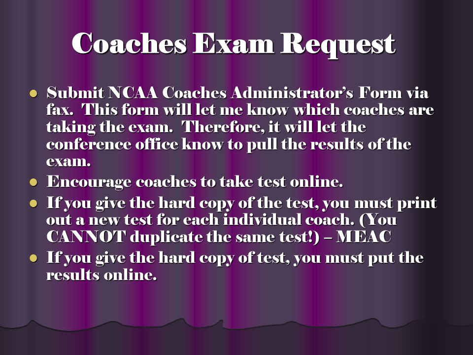 Recruiting Coaches Exam Administrator s Form Coaches Exam Administrator s Form Recruiting Proposals Recruiting Proposals MEAC Recruiting Policy MEAC Recruiting Policy Recruiting Calendars Recruiting Calendars 2009-10 National Letter of Intent Signing Dates 2009-10 National Letter of Intent Signing Dates Transfer Student-Athlete Basic Policy Transfer Student-Athlete Basic Policy MEAC Policy on Intra-Conference Transfer Rule MEAC Policy on Intra-Conference Transfer Rule