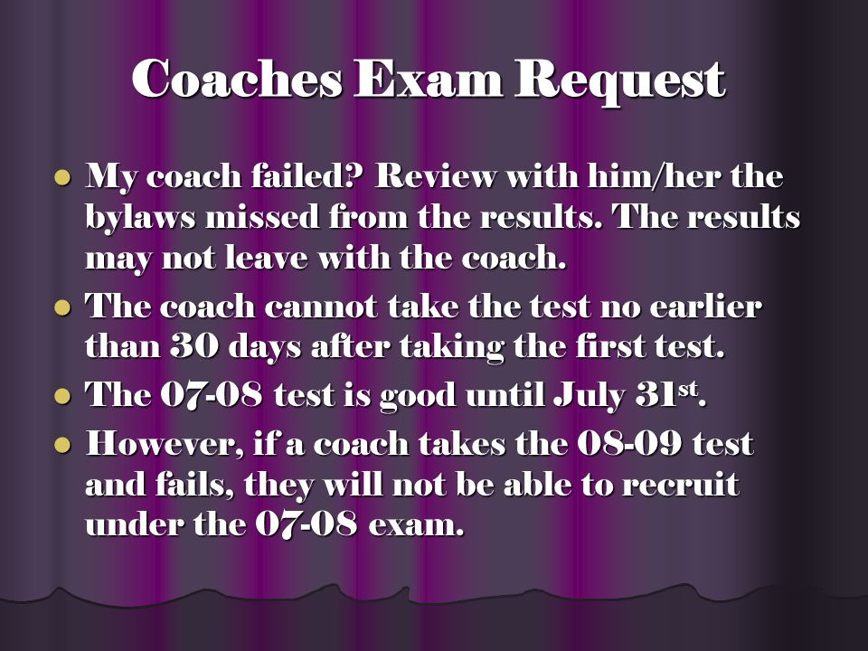 Coaches Exam Request Submit NCAA Coaches Administrators Form via fax.