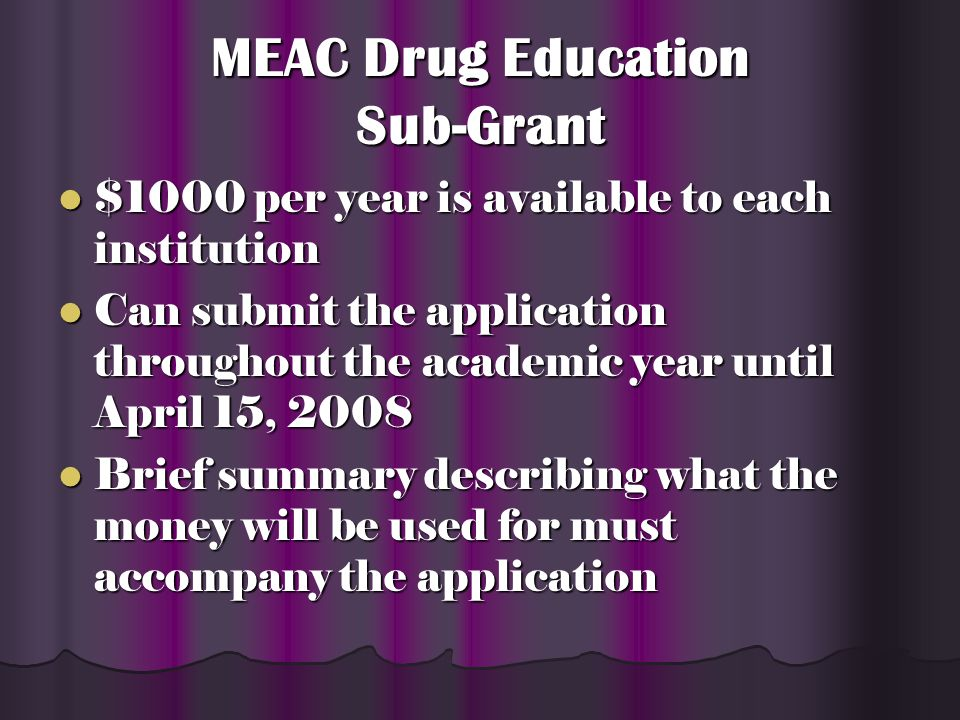 MEAC Drug Education Sub-Grant