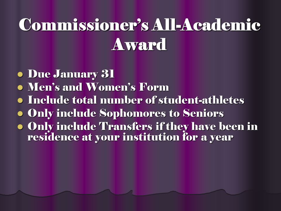Commissioners All- Academic Award