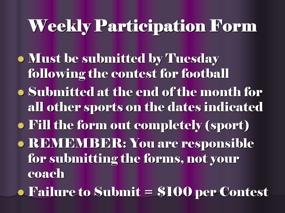 Weekly Participation Form