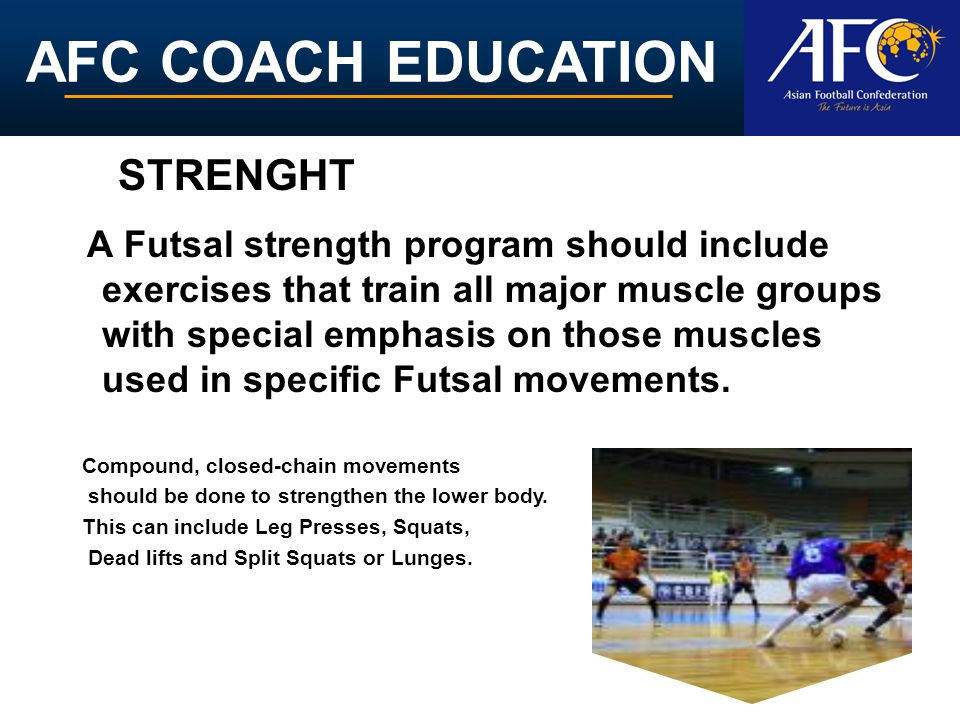 AFC COACH EDUCATION A Futsal strength program should include exercises that train all major muscle groups with special emphasis on those muscles used