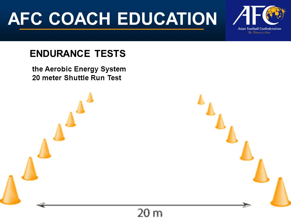 AFC COACH EDUCATION ENDURANCE TESTS the Aerobic Energy System 20 meter Shuttle Run Test