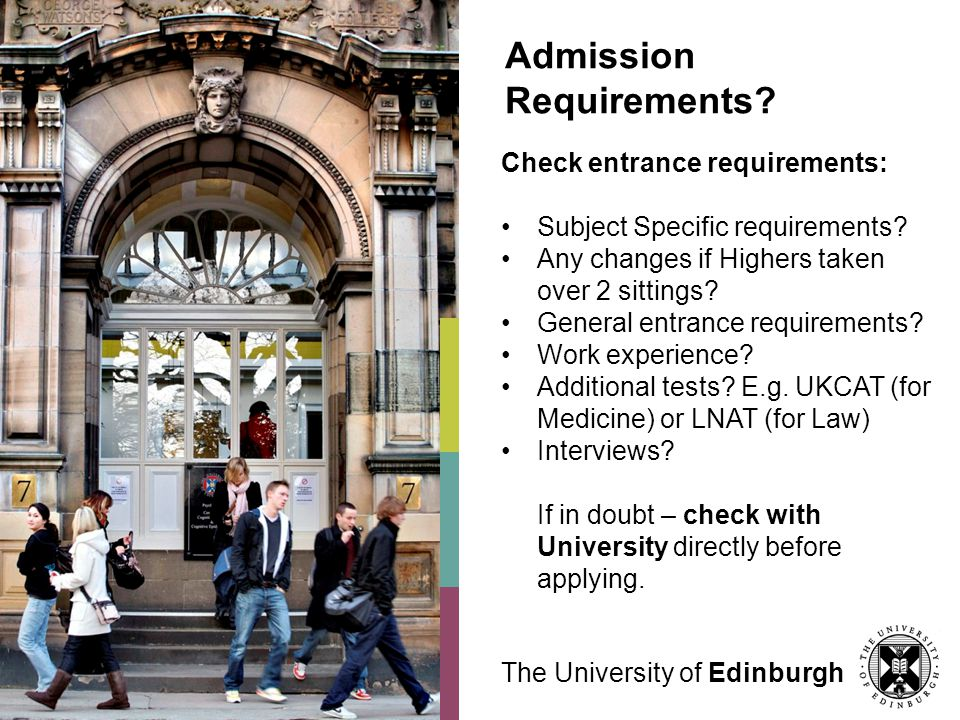 Admission Requirements. Check entrance requirements: Subject Specific requirements.