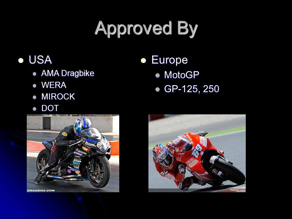 Approved By USA USA AMA Dragbike AMA Dragbike WERA WERA MIROCK MIROCK DOT DOT Europe Europe MotoGP GP-125, 250