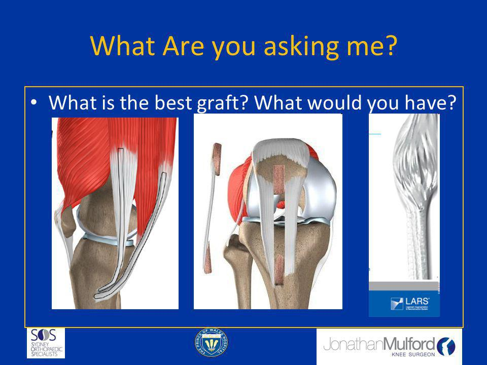 Graft Choice Autograft – Patients own tissue Allograft – someone else s tissue Synthetic - Artificial