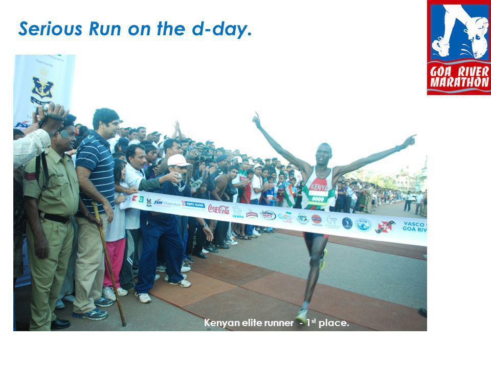 Serious Run on the d-day.The Kenyan (1 st place winner) Kenyan elite runner - 1 st place.