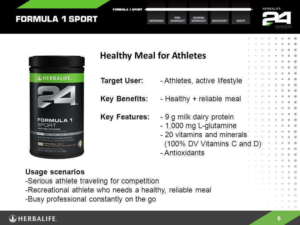 6 Healthy Meal for Athletes Target User: - Athletes, active lifestyle Key Benefits: - Healthy + reliable meal Key Features: - 9 g milk dairy protein -