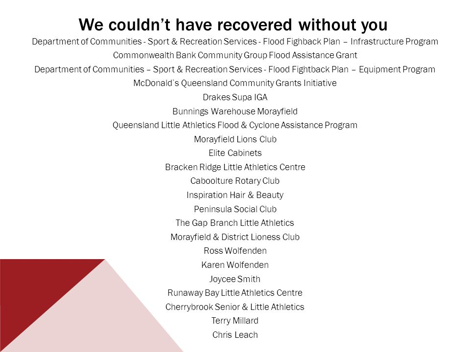 We couldnt have recovered without you Department of Communities - Sport & Recreation Services - Flood Fighback Plan – Infrastructure Program Commonwealth Bank Community Group Flood Assistance Grant Department of Communities – Sport & Recreation Services - Flood Fightback Plan – Equipment Program McDonalds Queensland Community Grants Initiative Drakes Supa IGA Bunnings Warehouse Morayfield Queensland Little Athletics Flood & Cyclone Assistance Program Morayfield Lions Club Elite Cabinets Bracken Ridge Little Athletics Centre Caboolture Rotary Club Inspiration Hair & Beauty Peninsula Social Club The Gap Branch Little Athletics Morayfield & District Lioness Club Ross Wolfenden Karen Wolfenden Joycee Smith Runaway Bay Little Athletics Centre Cherrybrook Senior & Little Athletics Terry Millard Chris Leach