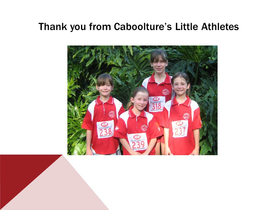 Thank you from Cabooltures Little Athletes