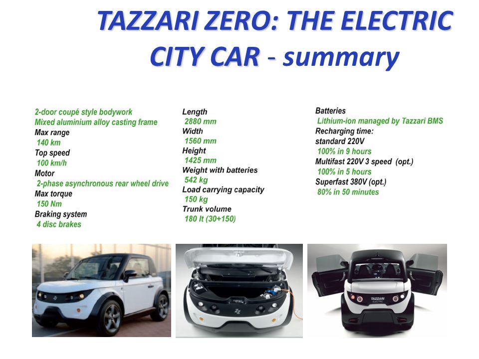 TAZZARI ZERO: THE ELECTRIC CITY CAR - TAZZARI ZERO: THE ELECTRIC CITY CAR - summary