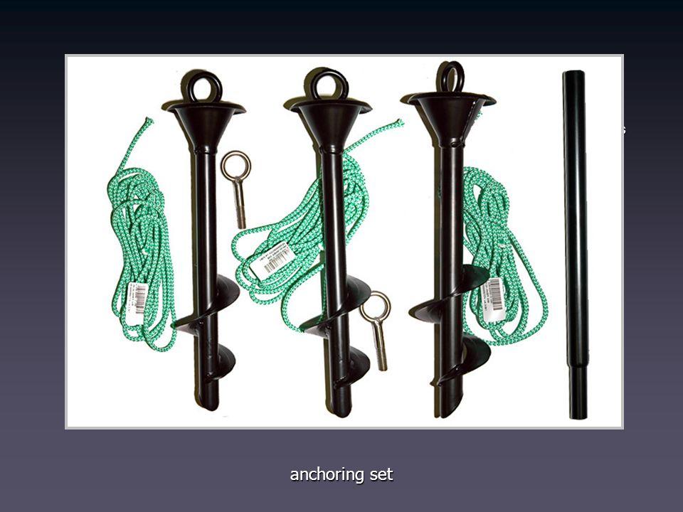 SET INCLUDES: ground fixation screws ground fixation screws wing attachmenz screw-in rings wing attachmenz screw-in rings tie down ropes tie down rope