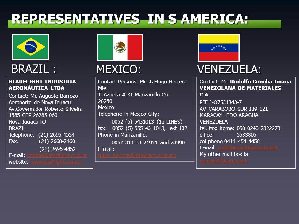 REPRESENTATIVES IN S AMERICA: BRAZIL : STARFLIGHT INDUSTRIA AERONÁUTICA LTDA Contact: Mr. Augusto Barrozo Aeroporto de Nova Iguacu Av.Governador Rober