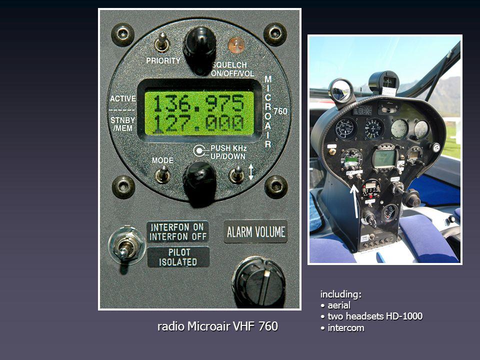 radio Microair VHF 760 including: aerial aerial two headsets HD-1000 two headsets HD-1000 intercom intercom