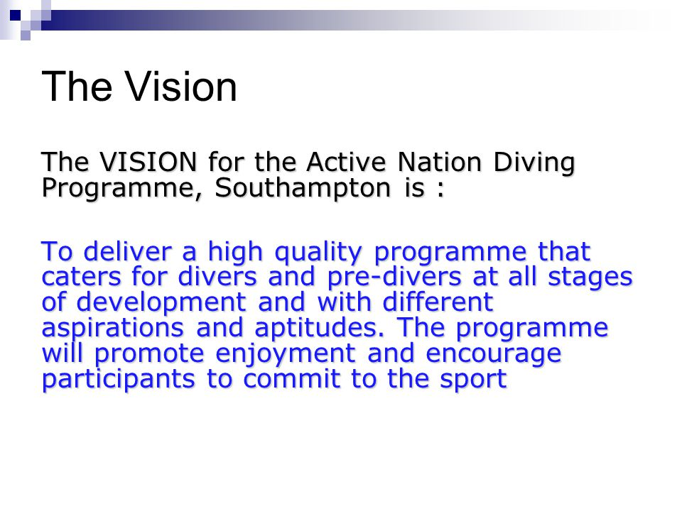 The Vision The VISION for the Active Nation Diving Programme, Southampton is : To deliver a high quality programme that caters for divers and pre-divers at all stages of development and with different aspirations and aptitudes.