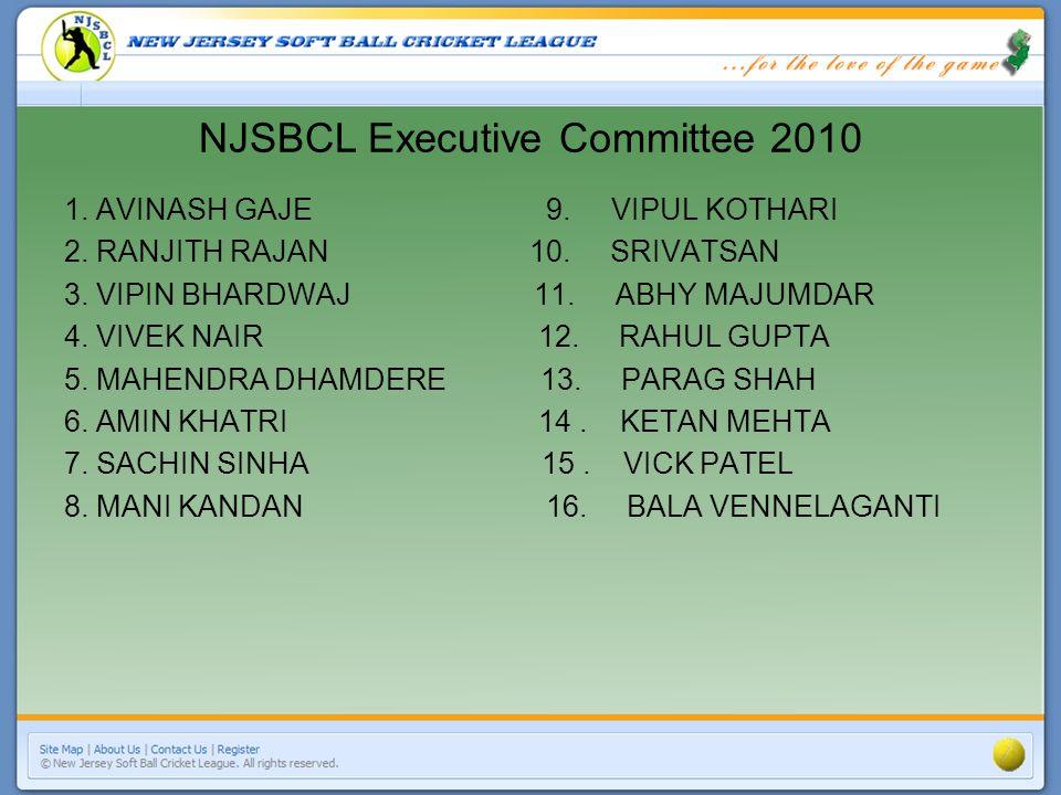 NJSBCL Executive Committee 2010 1. AVINASH GAJE 9.