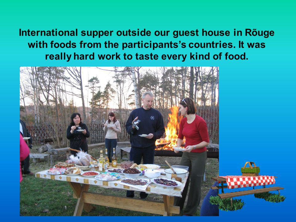 International supper outside our guest house in Rõuge with foods from the participantss countries.