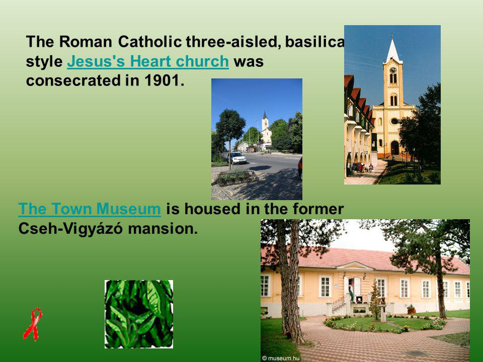 The Roman Catholic three-aisled, basilica style Jesus s Heart church was consecrated in 1901.Jesus s Heart church The Town MuseumThe Town Museum is housed in the former Cseh-Vigyázó mansion.