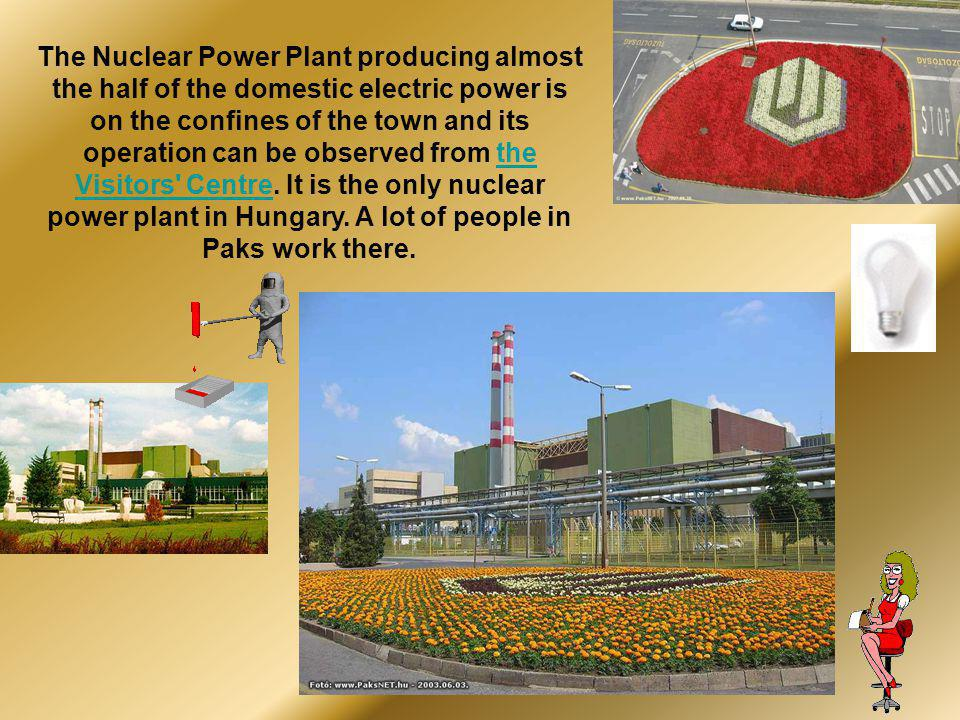 The Nuclear Power Plant producing almost the half of the domestic electric power is on the confines of the town and its operation can be observed from