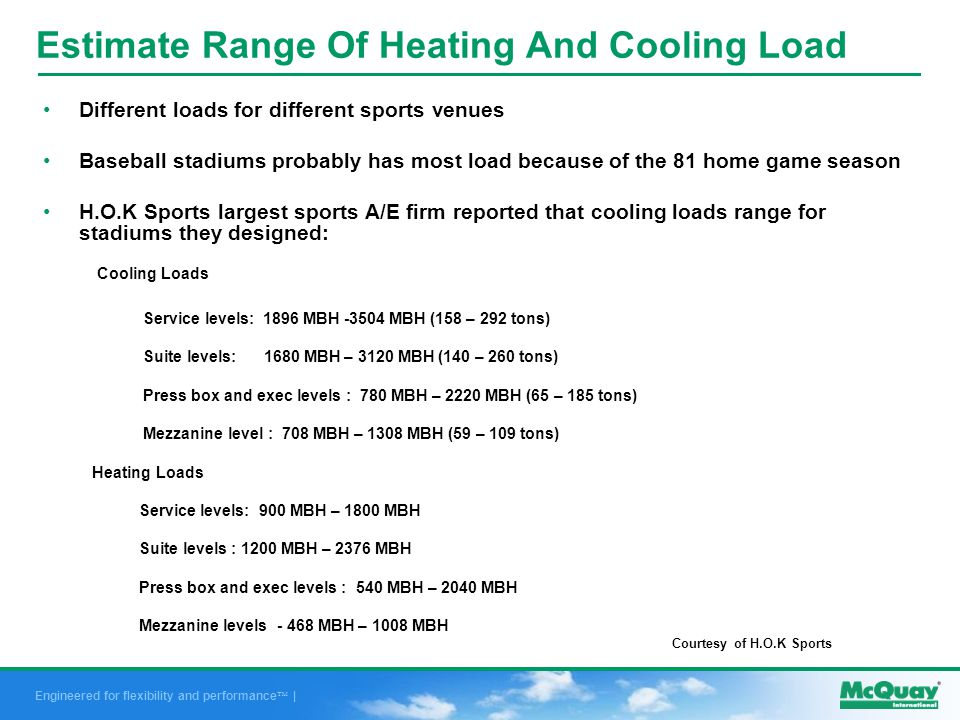 Engineered for flexibility and performance | Estimate Range Of Heating And Cooling Load Different loads for different sports venues Baseball stadiums probably has most load because of the 81 home game season H.O.K Sports largest sports A/E firm reported that cooling loads range for stadiums they designed: Cooling Loads Service levels: 1896 MBH -3504 MBH (158 – 292 tons) Suite levels: 1680 MBH – 3120 MBH (140 – 260 tons) Press box and exec levels : 780 MBH – 2220 MBH (65 – 185 tons) Mezzanine level : 708 MBH – 1308 MBH (59 – 109 tons) Heating Loads Service levels: 900 MBH – 1800 MBH Suite levels : 1200 MBH – 2376 MBH Press box and exec levels : 540 MBH – 2040 MBH Mezzanine levels - 468 MBH – 1008 MBH Courtesy of H.O.K Sports