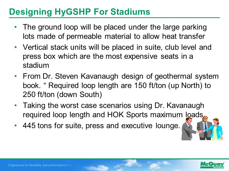 Engineered for flexibility and performance | Designing HyGSHP For Stadiums The ground loop will be placed under the large parking lots made of permeable material to allow heat transfer Vertical stack units will be placed in suite, club level and press box which are the most expensive seats in a stadium From Dr.