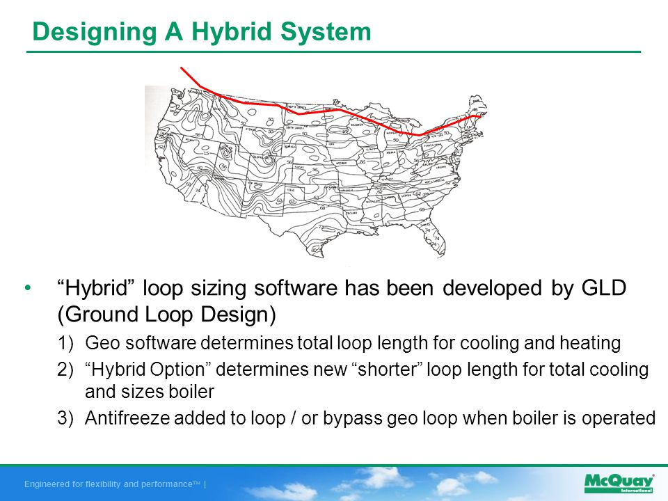 Engineered for flexibility and performance | Hybrid loop sizing software has been developed by GLD (Ground Loop Design) 1)Geo software determines total loop length for cooling and heating 2)Hybrid Option determines new shorter loop length for total cooling and sizes boiler 3)Antifreeze added to loop / or bypass geo loop when boiler is operated Designing A Hybrid System